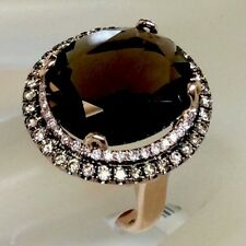 8.5ct Natural Smoky Topaz Champagne Diamond Halo Cocktail Ring Solid 14k RG New