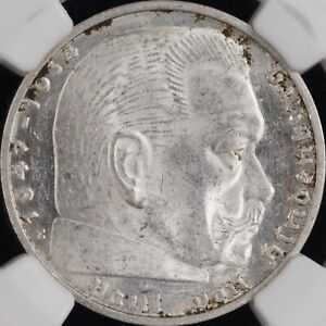 Germany-Third Reich Silver 1937 E 2 Mark NGC MS61 Hindenburg.  semi PL reverse