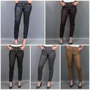 Karostar: Boyfriend Baggy Stretch Jeans Leder-Optik Kunstleder 5 Farben 38 - 48