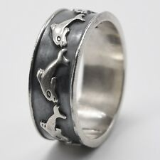 Dolphins Pattern Size 10.5 Mexico Vintage Sterling Silver 925 Ring Band