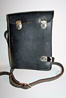Vintage Across Body Military Report Map Bag Messenger Black Thick Leather RARE 1