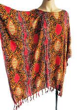 Ladies short Kaftan Poncho Tunic top beach wear fits large plus size fringed new