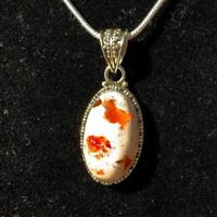 Unique Hand Crafted Mexican Fire Opal Pendant – 18in. Sterling Silver Chain