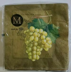 Metropolitan Museum Of Art Grapes gold 3 Ply Beverage paper 20 Napkins 25cm x 25