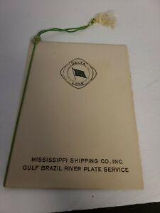 VTG Delta Line Mississippi Shipping Gulf Brazil River Plate Service Dinner Menu