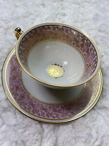 AOFI BAVARIA GERMANY Gold Gild Pink DEMI-TASSE CUP & SAUCER Teacup EUC