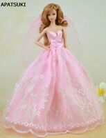 Pink Pretty Wedding Dress For Barbie Dolls Clothes Party Gown Veil Lace Vestido