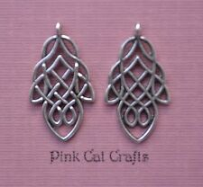 10 x CELTIC LEAF KNOT 3D Tibetan Silver Charms Pendants Beads