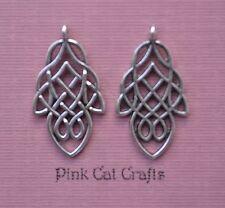 10 x CELTIC LEAF KNOT 3D Tibetan Silver Charms Pendants Beads