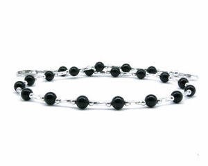 Black Onyx Anklet with Sterling Silver Twisted Tube Spacers, Small to Plus Size