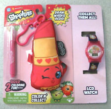 Shopkins Color N Wash Hook Plush and LCD Watch Bundle, Lippy Lips, NEW