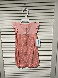 New with tags Carter's Baby Girl 12m Romper flowers floral Snap-up  pink