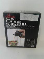 Chef Pals BOT-123 Auto-Flip Olive Oil, Vinegar Bottle Dispenser 2 Pack Black 8oz
