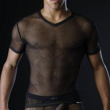 T-shirt noir résille Taille  XL  Manview by NEOFAN transparent sexy  Ref M09