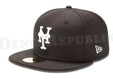 New Era 5950 NEW YORK METS NY Black & White Cap Fitted MLB 59FIFTY Baseball Hat