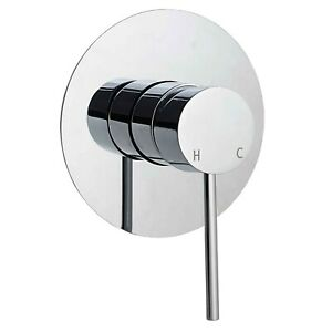 Chrome Concealed Shower Mixer Valve Bathroom Wall Hot Cold Tap Bath Faucet Round