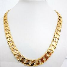 """14ct 14K  Yellow Gold """" Gold Filled """" 12 mm Curb Link Chain Necklace Gift  p900G"""