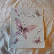 Vintage Mother's Day Card, Paramount 25 MD 4430, SISTER-IN-LAW Purple Butterfly