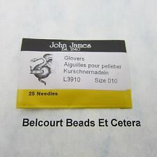 25 - Glovers Size 010 Leather Beading Needles John James Size 10 Seed Beads