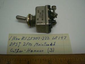 1 MS25307-222 MilitaryToggle Switch Sealed DPST Cutler H  25 Amp, Lot 147  USA