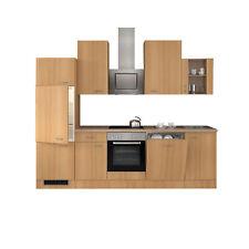 Küchenblock mit E-Geräten Küchenzeile Elektrogeräte Einbauküche 280 cm buche