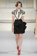 New Oscar De La Renta 6 Silk Faille Draped Rose Skirt Black Flower Applique