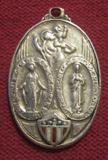 Antique Catholic Religious Medal - STERLING SCAPULAR - ENAMEL FLAG - MILITARY