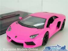 LAMORGHINI AVENTADOR LP700 MODEL CAR 1:38 SCALE MATT PINK + CASE KINSMART K8