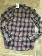 Duck and Cover Cotton stone/navy/dark red long/short sleeved check shirt