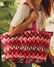 CHICO'S Be Bold Packable Zipper Tote Bag in Bright Pinks & Lime Green Ikat Print