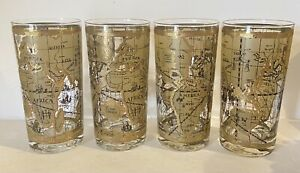 CERA 22K Gold Old World Map Highball Glasses Mid Century Barware Set Of 4