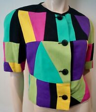 LOUIS FERAUD Bright Multi Colour Block Print Short Sleeve Summer Blazer Jacket M