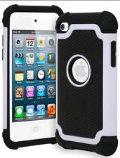 For iPod Touch 4 Rugged Bi-component Armor Shockproof Case • Cream White/Black