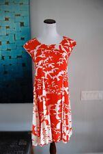 Anthropologie Maeve INDIGA Orange Bird Lace Up Back Swing Dress, Size Small