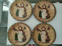 """4 Susan Winget COUNTRY SNOWMAN DINNER Plates 10 3/8"""" with Box Christmas"""