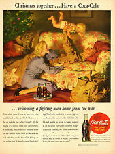 1945 WW2 era Christmas Ad COCA COLA  Great Art Haddon Sundblom !  112814