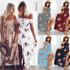 UK Women Ladies Long Maxi Beach Dress Stripe Evening Party Casual Dress Summer
