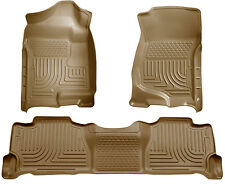 2007-2013 Cadillac Escalade Husky WeatherBeater Tan Front/2nd Row Floor Liners