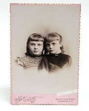 Cabinet Card Vintage Photo: 2 Girls c1890, deckel edge pink mount - Syracuse NY