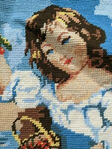 Vintage Needlepoint J Russel # 14106 Royal Paris Girl With Print finished Piece