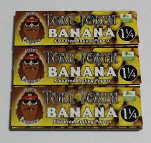 3X TOKE TOKEN BANANA FLAVORED ROLLING PAPERS 1 1/4 SIZE SLOW BURNING
