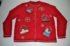 ALL POINTS UGLY CHRISTMAS NOW GLOBE STARS RED CARDIGAN SWEATER SIZE MEDIUM M