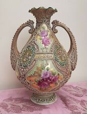 More details for noritake nippon moriage vase early c1900 maruki mark beaded painted roses gilt