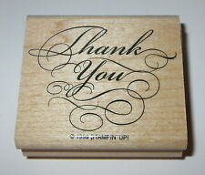 Thank You Rubber Stamp Stampin Up Elegant Writing Retired Wood Mounted 2 1/4""