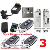 Door Access Control System+ Drop Bolt Lock+ 3PCS Wireless Remote Controls+ Exit