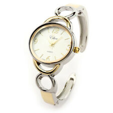 2Tone Metal Oval Face Rings Band Women's Bangle Cuff Watch