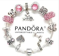 Authentic Pandora Silver Bracelet With Pink Dog Love Heart European Charms...NIB