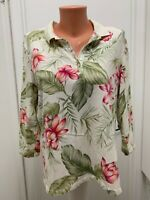 Caribbean Joe Let Go xl Top Floral tropical Cotton Spandex  polo  collared