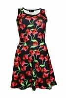 Women's Unique Cherry Skulls Bows Rockabilly Flare Swing Sleeveless Skater Dress