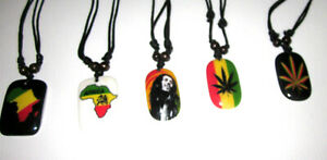Beaded Necklace - Rasta, Pan African, Weed, Ankh, Cross - Adjustable/Expandable
